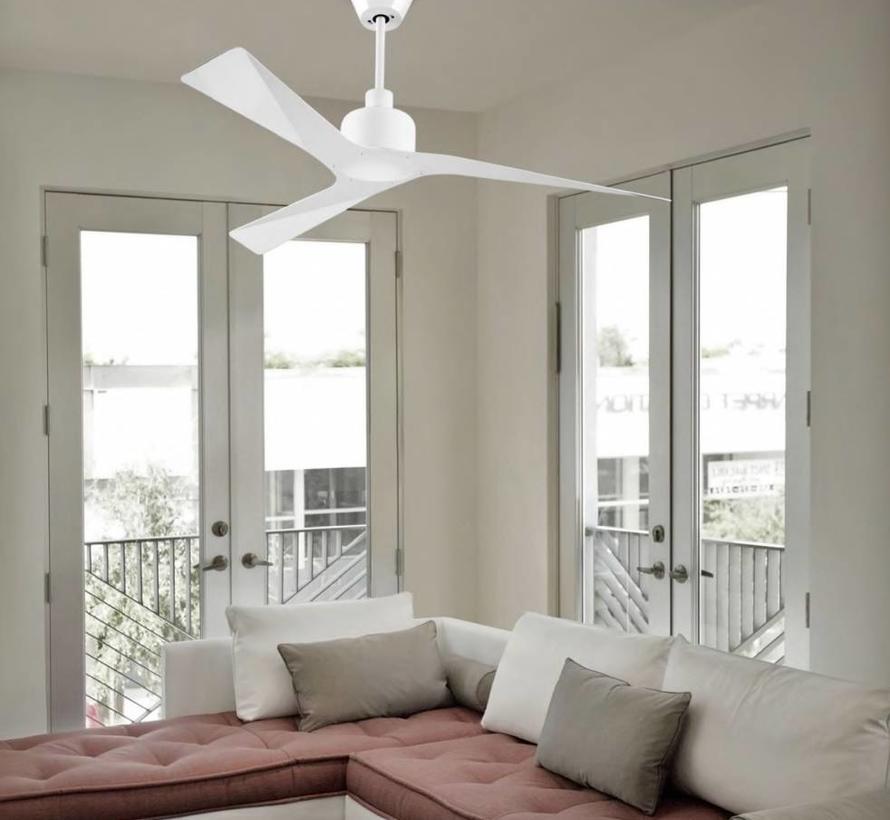 Mogan plafond ventilator Ø 1320mm in glanzend wit met afstandsbediening