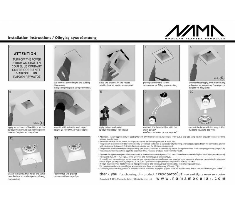 Fos 01 trimless gips inbouwspot vierkant voor Ø50mm led