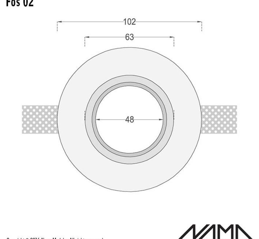 Fos 02 trimless gips inbouwspot rond voor Ø50mm led