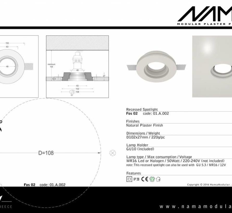 Fos02 trimless plaster recessed spotlight round Ø50mm led