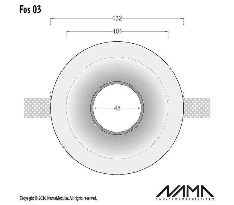 Fos 03 trimless gips inbouwspot verdiept rond voor Ø50mm led