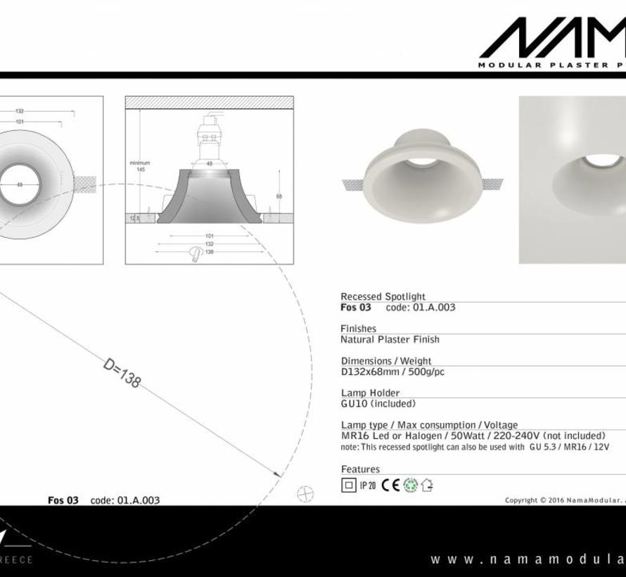 Fos03 trimless plaster recessed spot round for Ø50mm Led