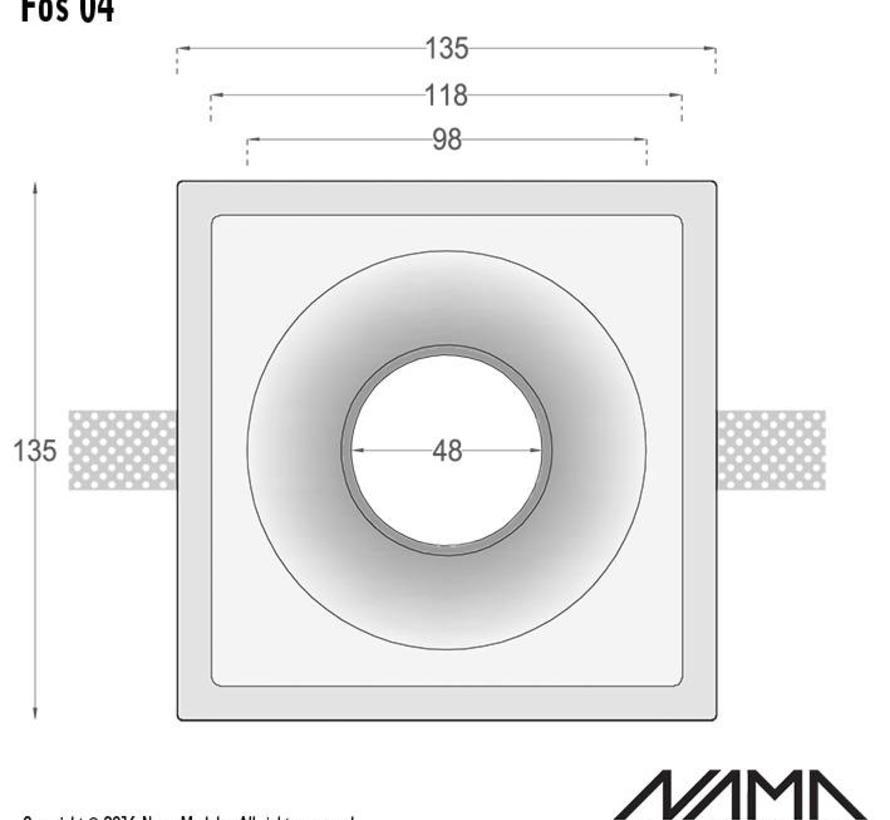 Fos 04 trimless gips inbouwspot verdiept vierkant voor Ø50mm led