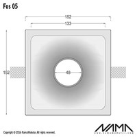 Fos 05 trimless gips inbouwspot verdiept vierkant voor Ø50mm led