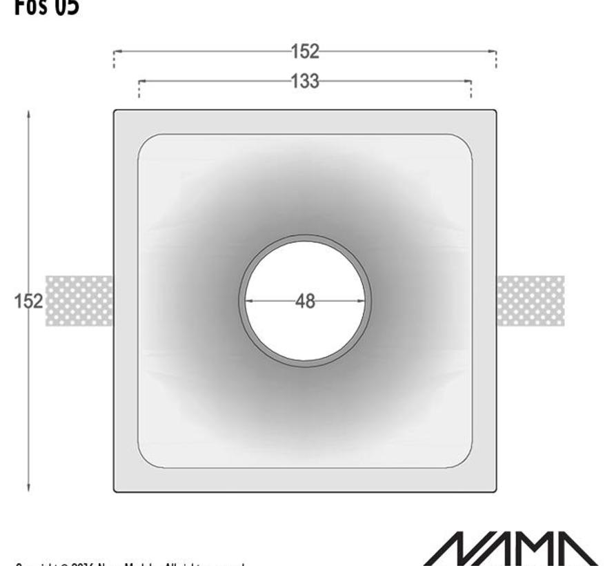 Fos05 trimless plaster recessed led spot square for Ø50mm led