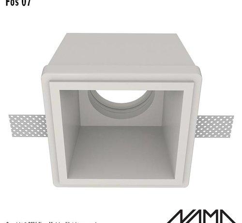 NAMA Fos 07 trimless gips inbouwspot verdiept vierkant voor Ø50mm led