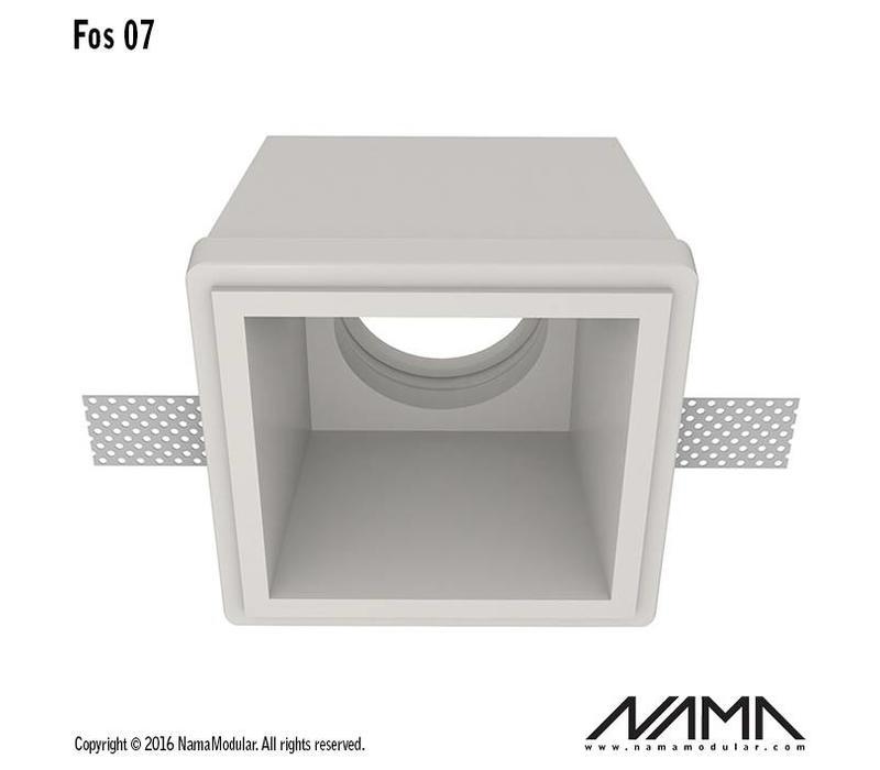 Fos 07 trimless gips inbouwspot verdiept vierkant voor Ø50mm led