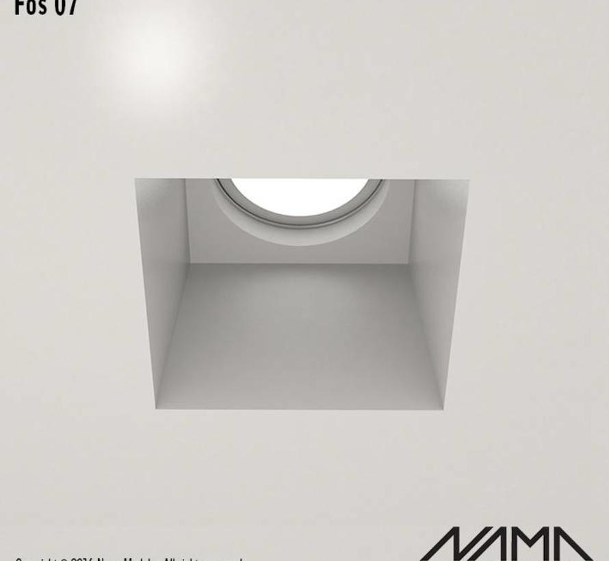 Fos 07 trimless plaster recessed spot square for Ø50mm LED