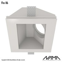 Fos 06 trimless gips inbouwspot vierkant-schuin voor Ø50mm led