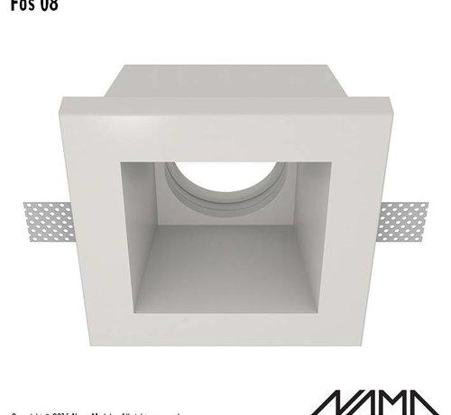 NAMA Fos 08 trimless gips inbouwspot verdiept vierkant voor Ø50mm led