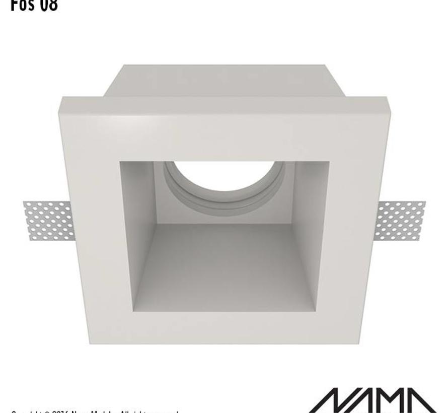 Fos 08 trimless plaster recessed spot square for Ø50mm LED