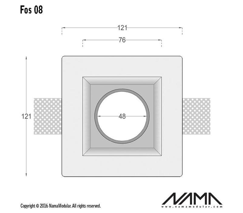 Fos 08 trimless gips inbouwspot verdiept vierkant voor Ø50mm led