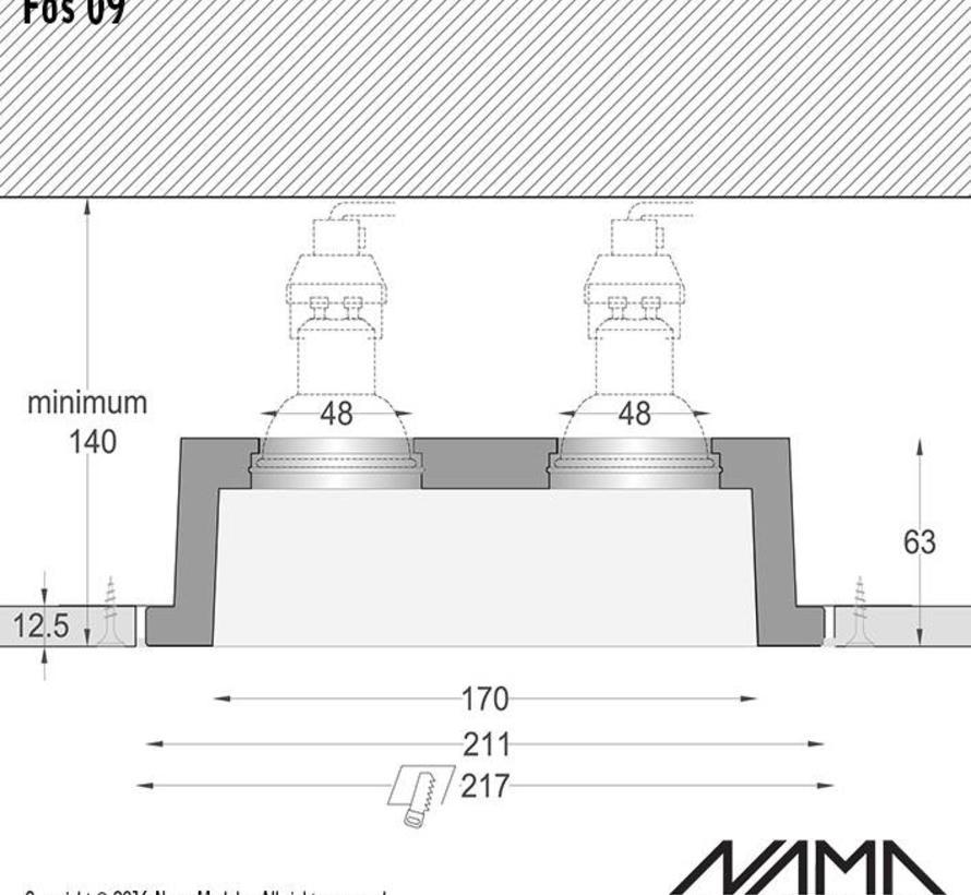 Fos 09 trimless gips 2-voudige inbouwspot verdiept vierkant voor Ø50mm led