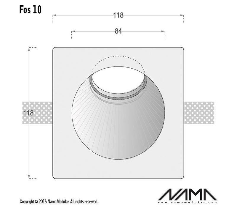 Fos 10 trimless gips inbouwspot rond-schuin voor Ø50mm led