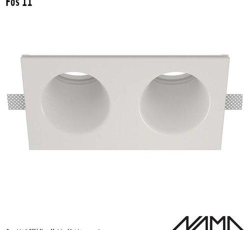 NAMA Fos 11 trimless gips 2-voudige inbouwspot rond-schuin voor Ø50mm led