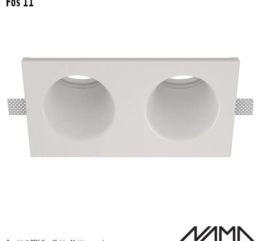 Fos 11 trimless gips 2-voudige inbouwspot rond-schuin voor Ø50mm led