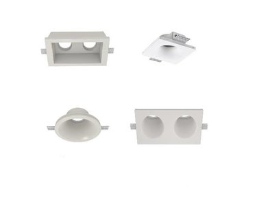 Trimless recessed spotlights of plaster and paintable