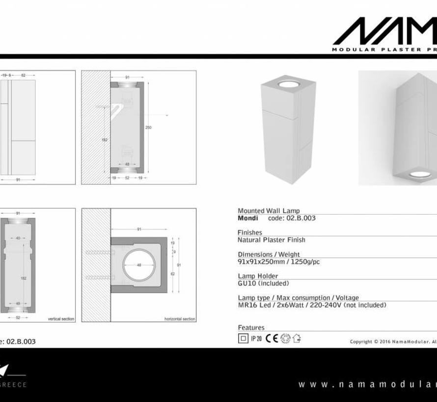 Mondi Up-down gips led wandlamp 230V-GU10