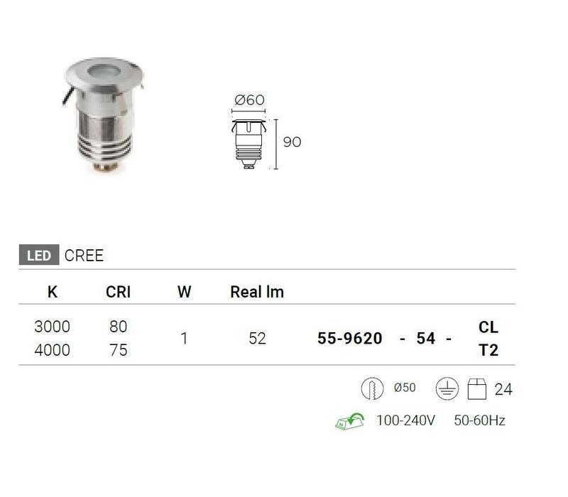 GEA Power LED Step Uplight recessed 230V-1W