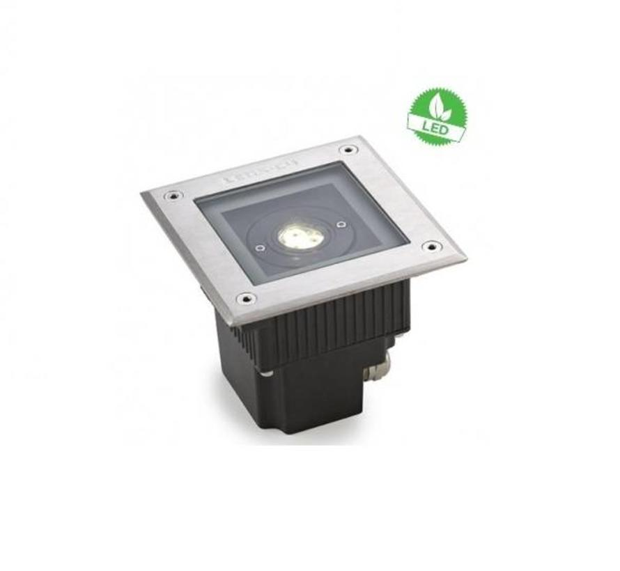 Gea Power Led Uplight vierkante grondspot 6Watt richtbaar RVS