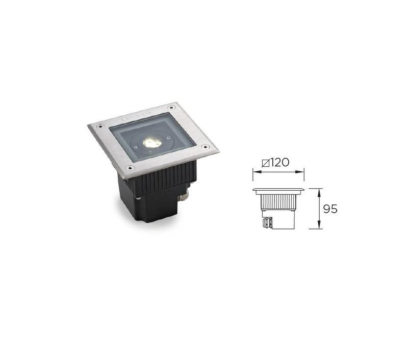 Gea Power Led Uplight vierkante grondspot 6Watt richtbaar RVS