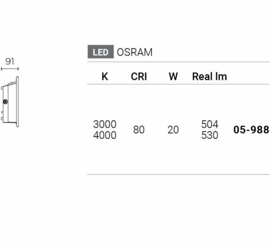 Micenas Led wand inbouwlamp 230V-20Watt