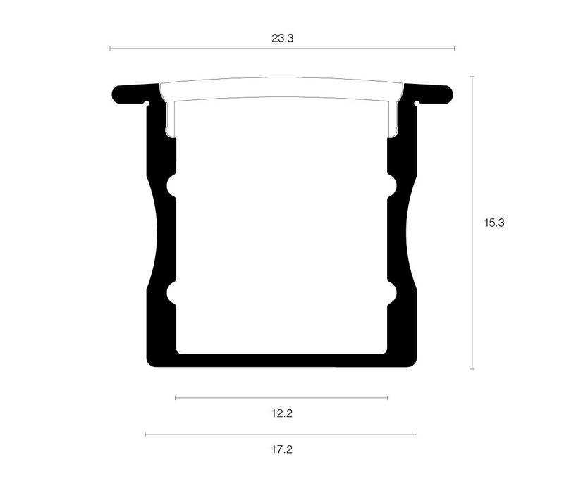 Curve 15mm Inbouw ledprofiel  200cm