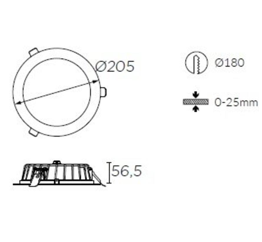 Vol led downlighter 16,8Watt Ø205mm wit/opaal