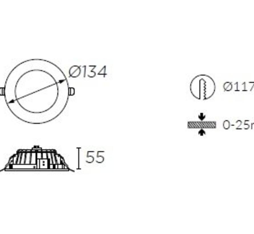 Vol led downlighter 8,4Watt Ø134mm wit/opaal