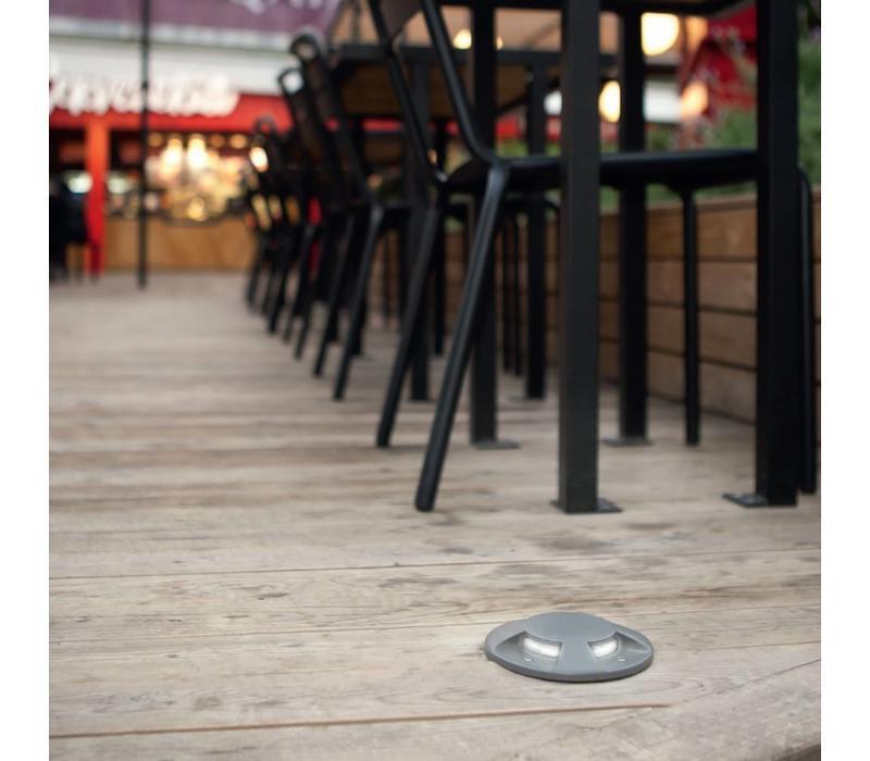 Xena Ø13cm LED 2-weg 1W grond inbouw alu grijs