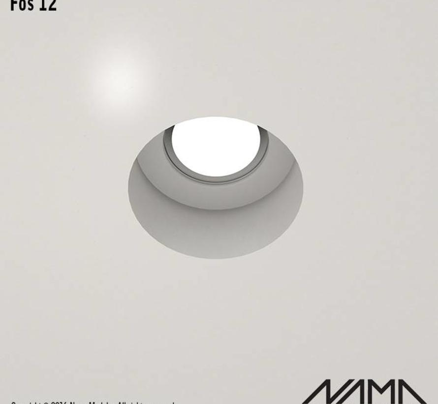 Fos12 trimless plaster recessed spot round for Ø50mm LED