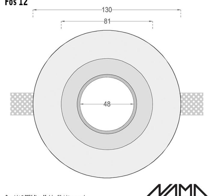 Fos12 trimless gips inbouwspot verdiept rond voor Ø50mm led
