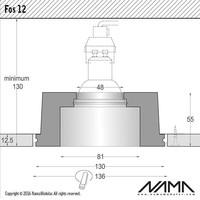 Fos 12 trimless gips inbouwspot verdiept rond voor Ø50mm led