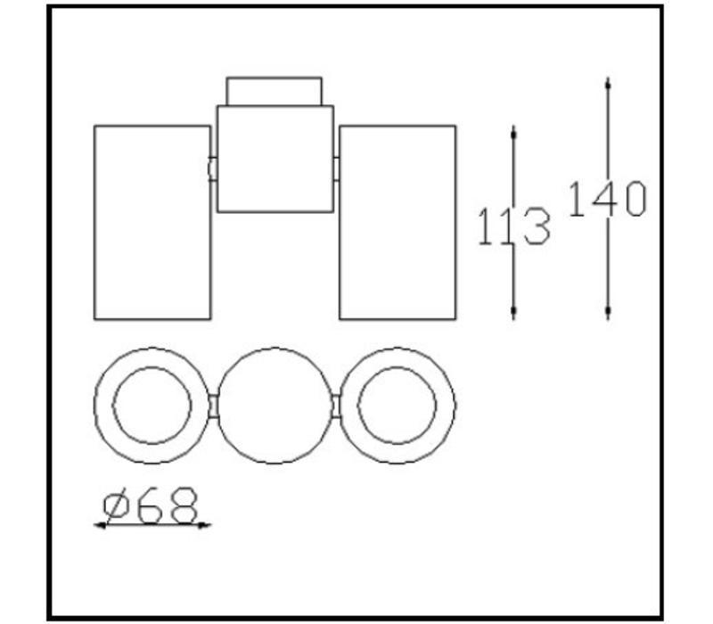 Pipe richtbare opbouwspot LED 2 x GU10 wit/zwart