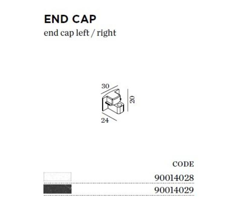 Track 1-fase End Cap (eindstuk)  in wit of zwart