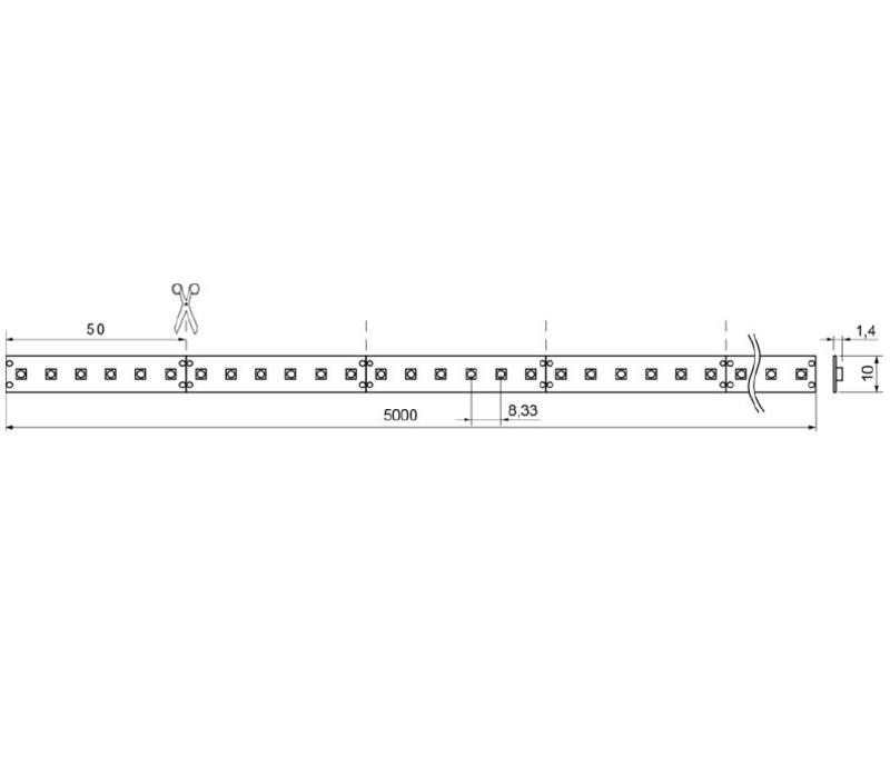 QX Basic 5 mtr 24V-4,8W  ledstrip 60 leds/p.mtr CRI85