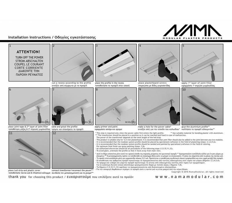 Athina 100 trimless kompleet inbouw Led profiel 100cm