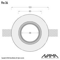 Fos 16 trimless gips inbouwspot rond voor Ø50mm led