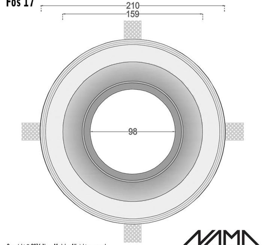 Fos 17 trimless gips inbouwspot rond voor Ø111mm ledlamp