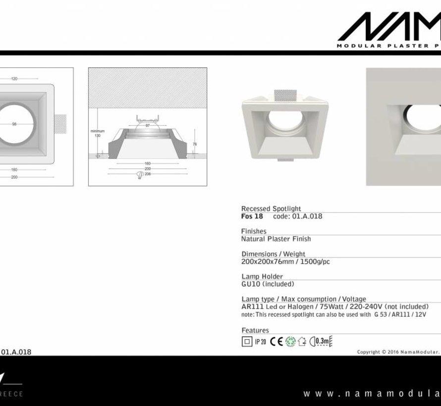 Fos 18 trimless gips inbouwspot vierkant voor Ø111mm ledlamp