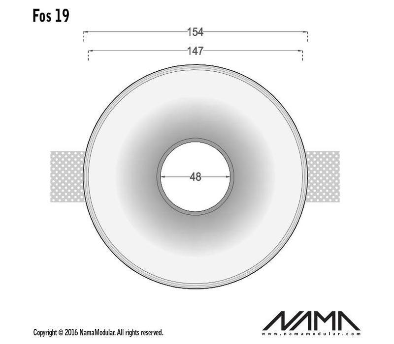 Fos 19 trimless gips inbouwspot verdiept rond voor Ø50mm led