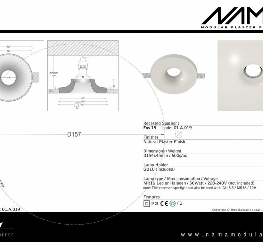 Fos19 trimless plaster recessed round for Ø50mm LED