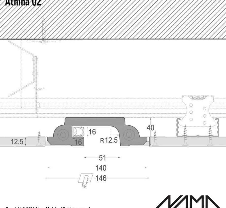 Athina 02 modulair trimless koppelbaar inbouw Led profiel 40cm recht