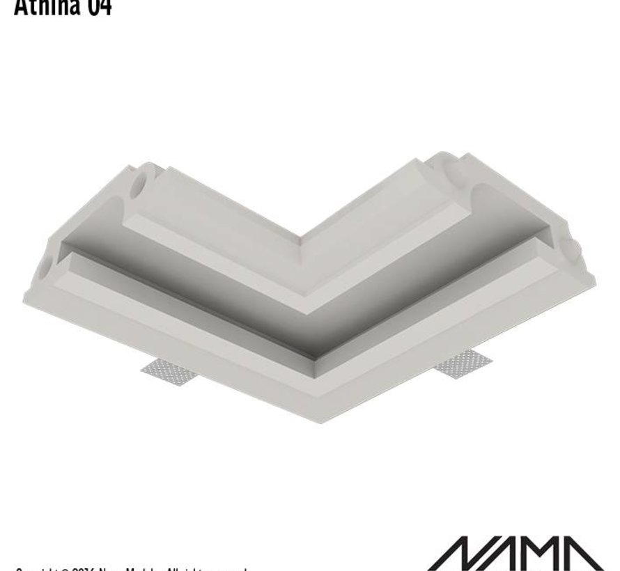 Athina 04 modulair trimless hoekstuk ledstrip aan buitenzijde