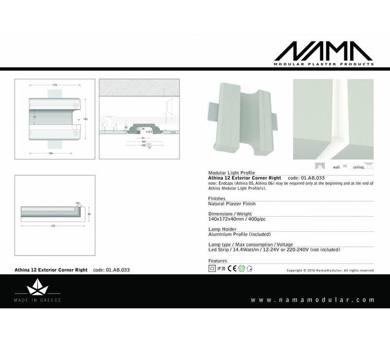 Athina 12 modulair trimless buitenliggend hoekstuk wand-plafond ledstrip rechts