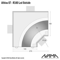 Athina 07-OUT trimless bocht R100, leds aan buitenzijde