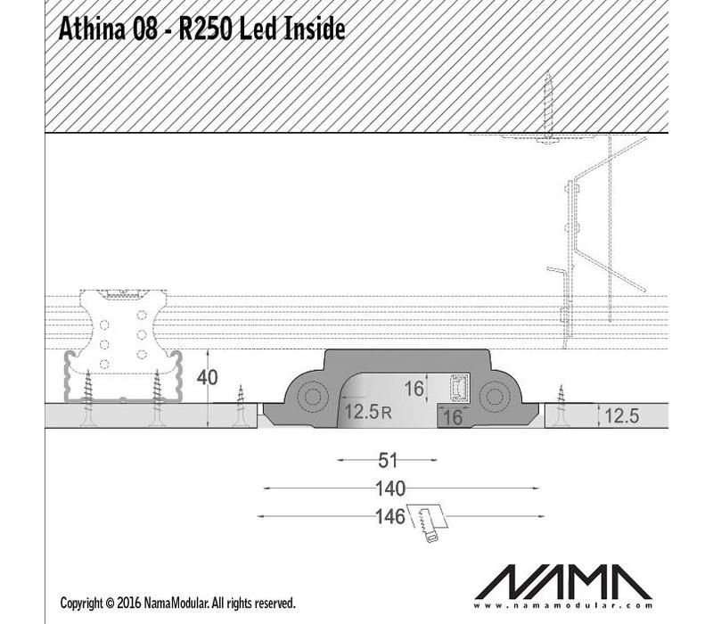Athina 08-IN trimless bocht R250, leds aan binnenzijde