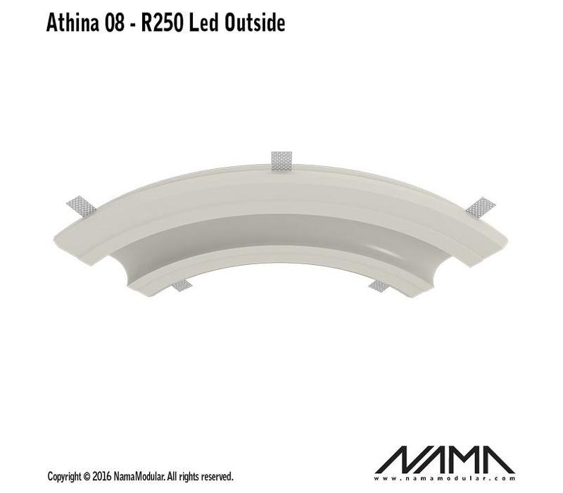 Athina 08-OUT trimless bocht R250, leds aan buitenzijde