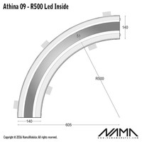 Athina 09-IN trimless bocht R500, leds aan binnenzijde