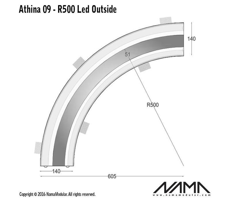 Athina 09-OUT trimless bocht R500, leds aan buitenzijde
